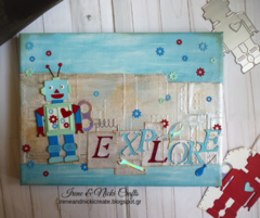 Sizzix| Robot 50s Canvas and Tags| Children's Room Decor
