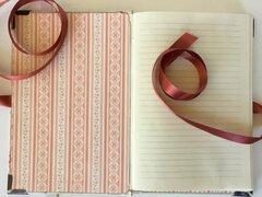 Vintage fabric journal- flower basket