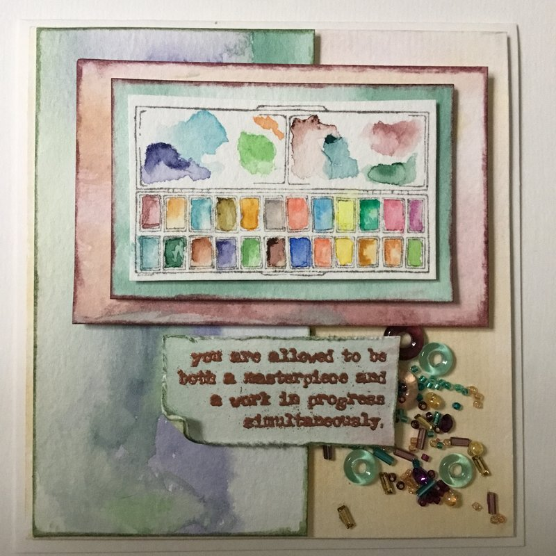 Watercolor pallet card for Carri
