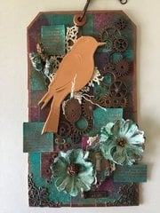 Wish, Hope, Dream: Mixed Media Copper Bird Tag