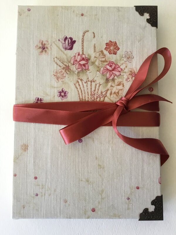 Vintage fabric journal- flower basket
