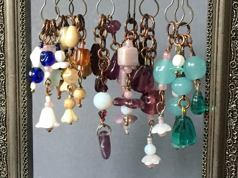 A few more charms with vintage beads...