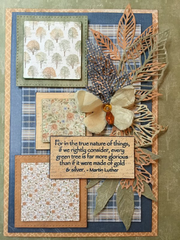 Fall Card for Bobby with vintage paper butterfly