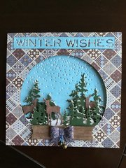 Deer in the woods Snow globe card