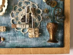 Mainsprings:  Mixed media canvas with watch parts and old paper