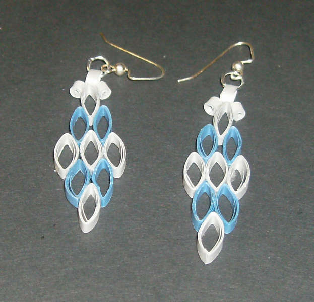Blue and Sliver Quilled earings