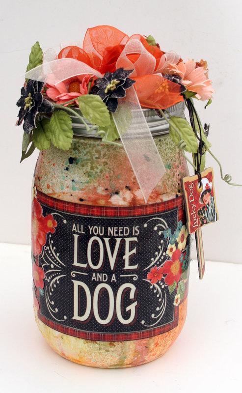 Treat jar   - Graphic 45 RAing Cats & Dogs
