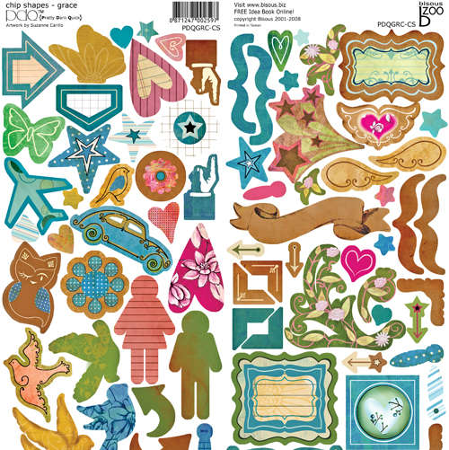Bisous PDQ Grace sticky back chipboard 12 x 12 over 90 pieces on each sheet