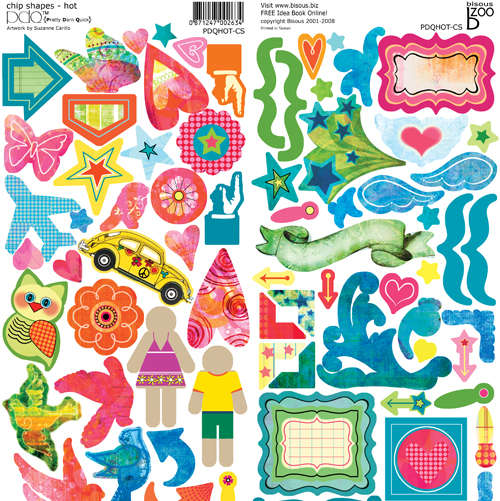 Bisous PDQ Hot sticky back chipboard 12 x 12 over 90 pieces on each sheet