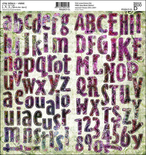 Bisous PDQ Violet Sept 2007 Release Preview  Chipboard Letters 12 x 12