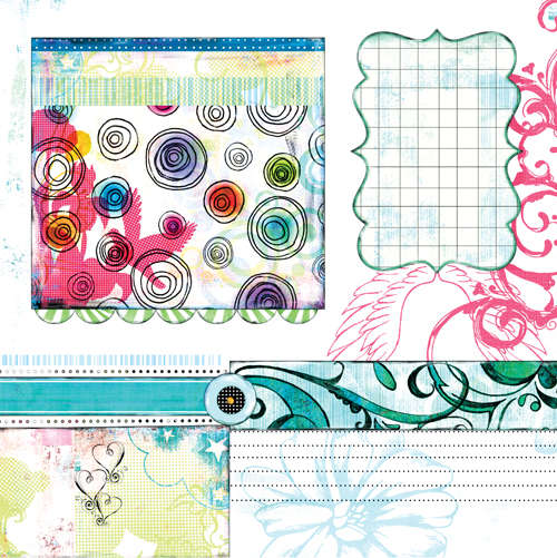 Bisous PDQ Yum paper 5 side A pre designed patterned paper