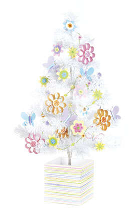 Doodlebug Plain and Simple Tree Decorated for Spring
