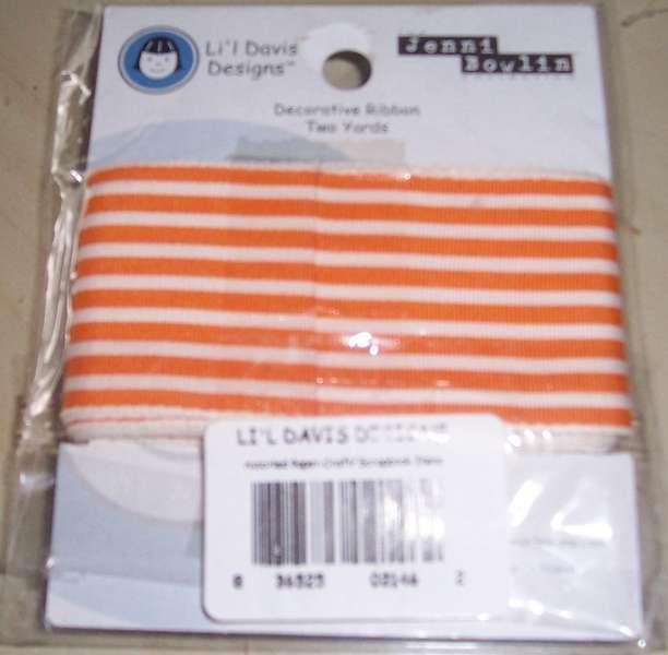 Lil Davis Designs decorative ribbon 2 yards orange and white striped