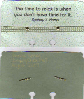 Rolodex card - relax quote