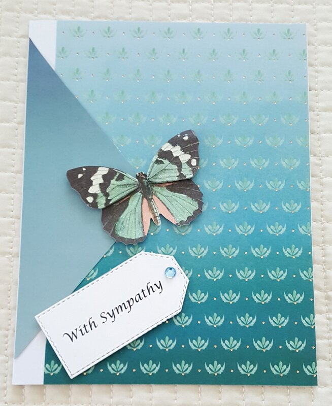 With Sympathy Turquoise Butterfly