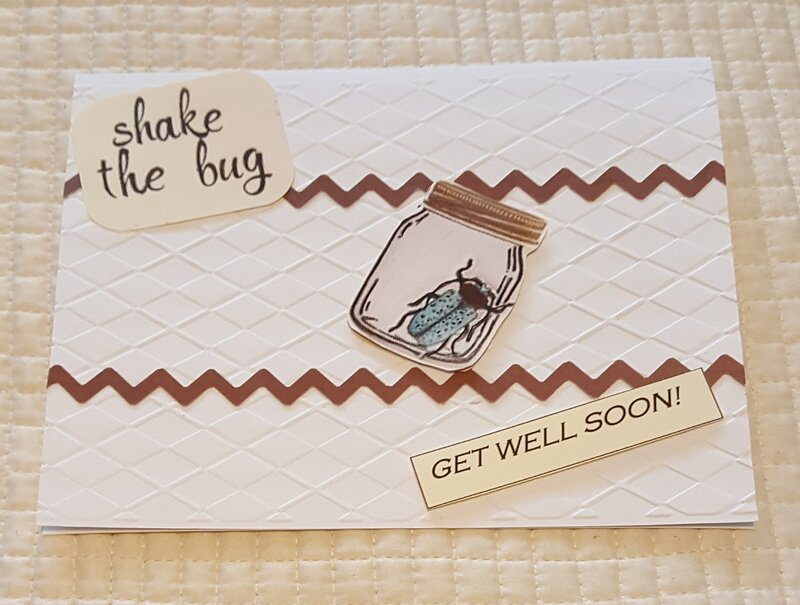 Shake The Bug Embossed Get Well Card