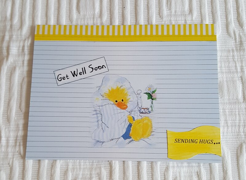 Get Well Soon Duck In A Blanket Blue Card