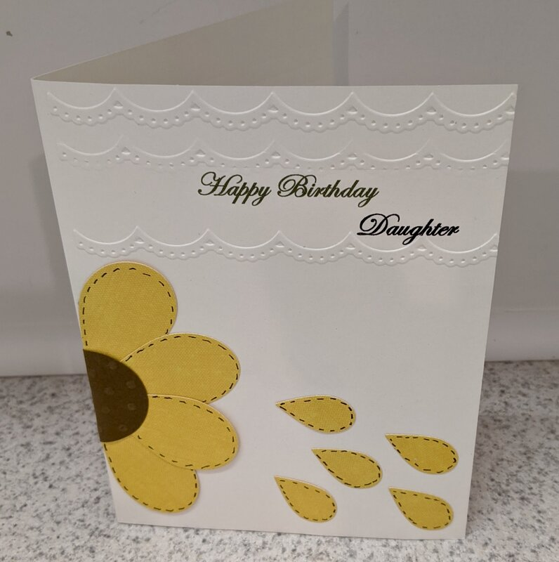 Stitched Sunflower Daughter Embossed Birthday Card