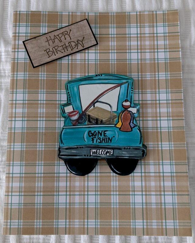 Gone Fishing Truck Birthday Card