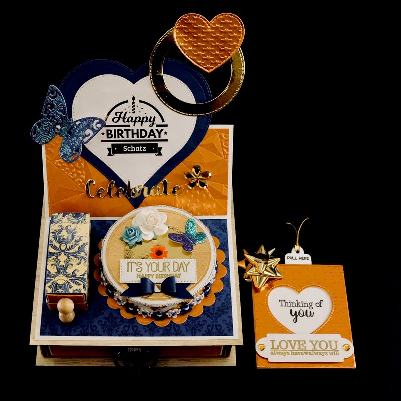 Candle Cake Birthday Love Easel Card with Drawer
