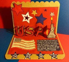 Pop-up USA and Statue of Liberty Deployed Military Card