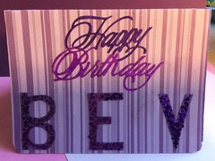 Front of Pop-up Purple Birthday Card