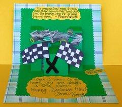 Pop-up Racecar Birthday Card (inside)