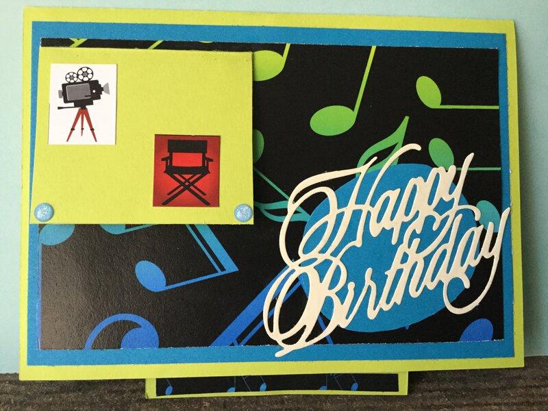 Music (Saxophone) Birthday Twisting Pop-Up Card