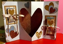 3D Heart Valentine with side foldout messages (Card opened with messages tied up with ribbons)