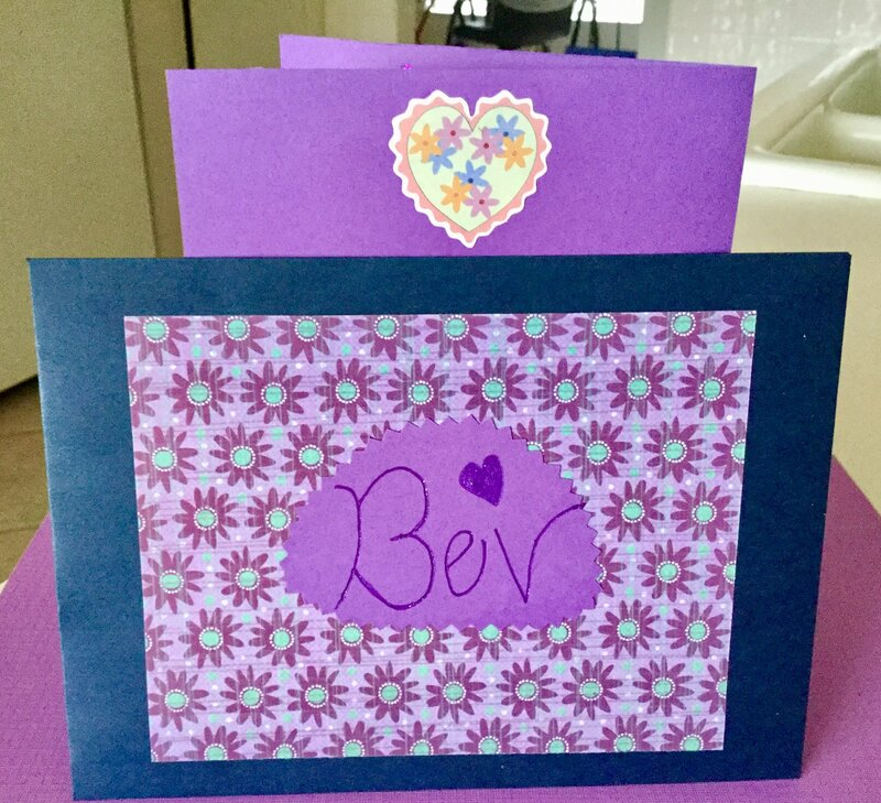 Flowered Purple Birthday Card (matching envelope and top of back of card)