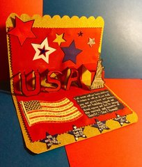 Pop-up USA and Statue of Liberty Deployed Military Card (side view of inside)