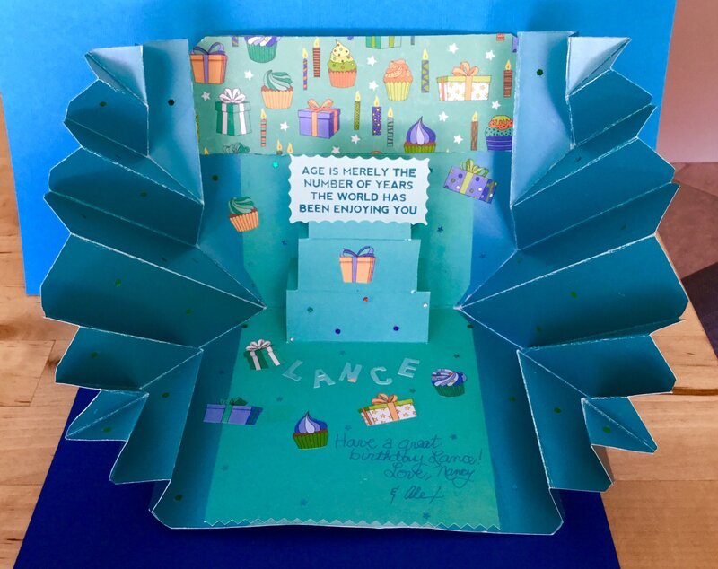 Explosion Pop-Up Teal Birthday Card