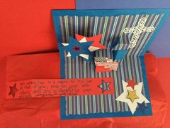 Inside of Pop-Up Military Appreciation Card (message unfolded to read message)