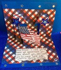 Inside of Pop-up flag Military Appreciation Card