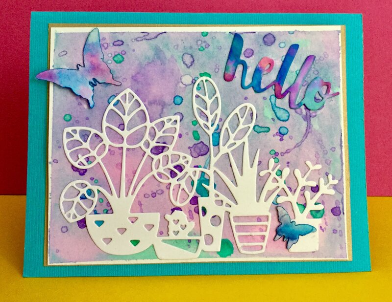 Watercolor Card with die cuts