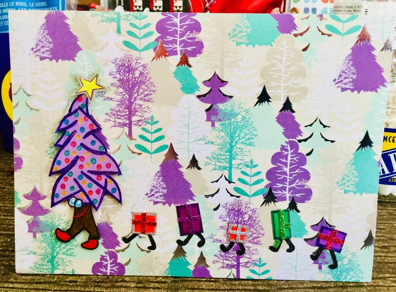 """Front of Christmas Card With """"Walking"""" Tree and Presents"""