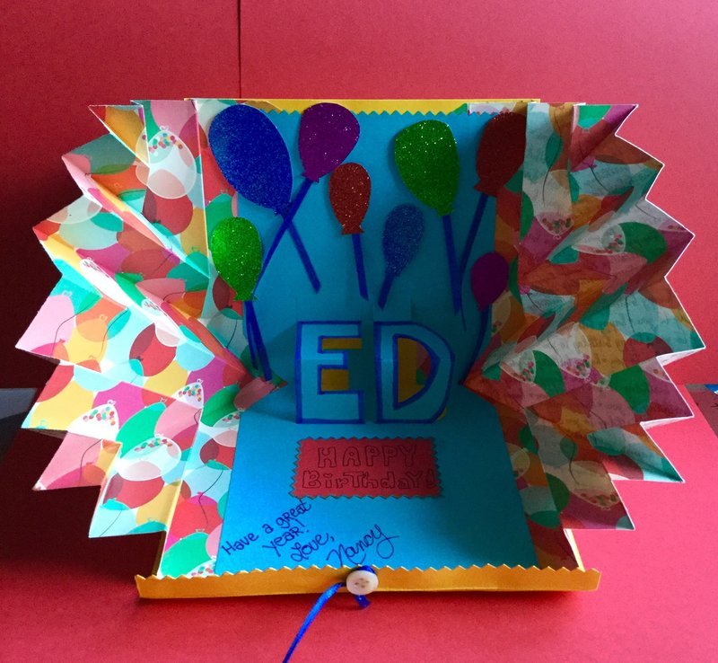 INSIDE of Name Pop Up Side Fold Explosion Birthday Card