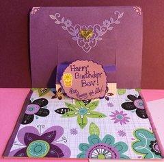 Inside of Pop-up Purple Birthday Card
