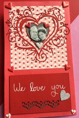 Four box pop-up Valentine (card front, folded up)