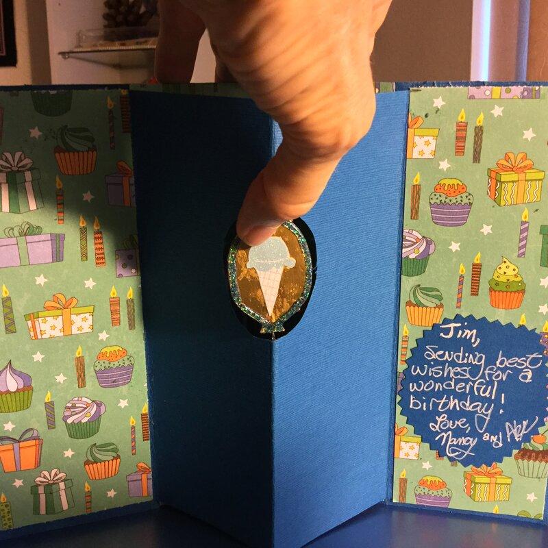 Spinning Balloon in Center of Birthday Card