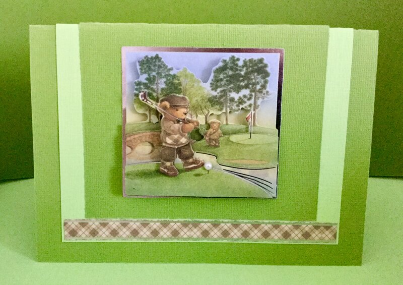 Bear Playing Golf - Thank You Card