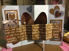3D Heart Valentine with side foldout messages (card inside with message folded out)