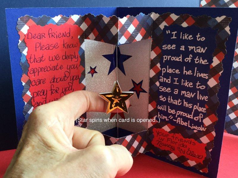 Inside of Military Appreciation Card, Spinning Star