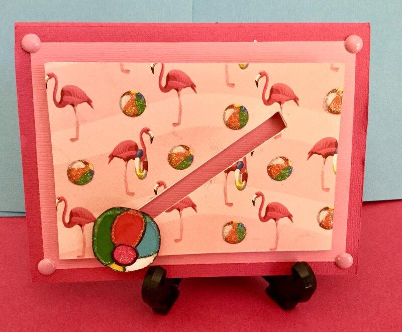 Sliding Beach Ball Flamingo Card (Front)