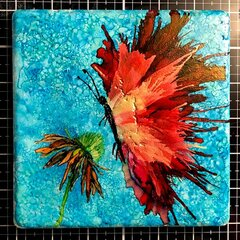 Butterfly in Alcohol Ink on Stone Tile