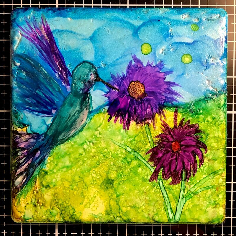 Hummingbird in Alcohol Ink on Stone Tile