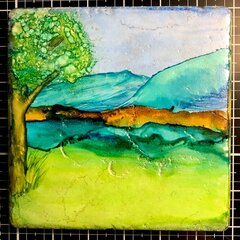 Alcohol Ink on Stone Tile