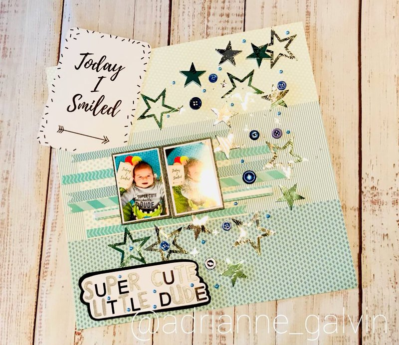 12 x 12 Scrapbook Layout - Super Cute Little Dude