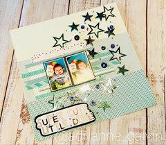 12 x 12 Scrapbook Layout - Super Cute Little Dude