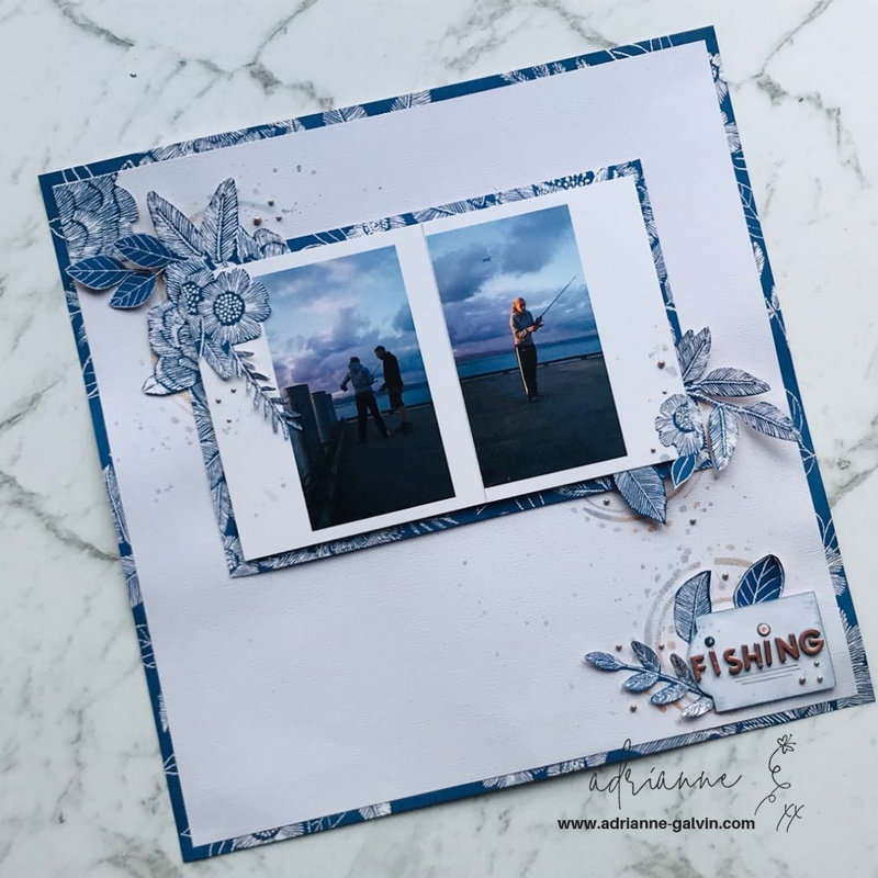 12 x 12 Scrapbook Layout - Fishing